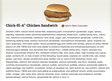 Chick-Fil-A-Sandwich ingredinet label